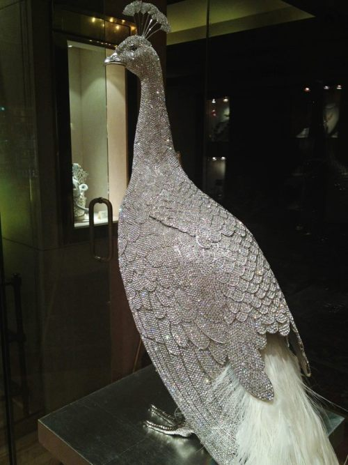 gorgeous peacock made out of crystals