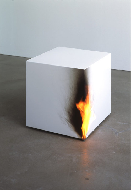 Burning Cube by Jeppe Hein