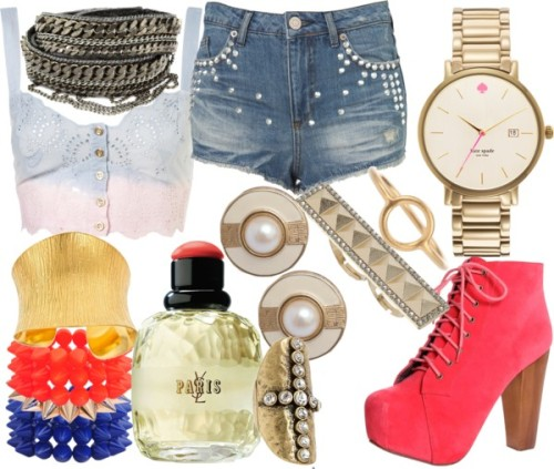 Watch It by emsaxx featuring lace up bootsDip dye shirt, $52Hot shorts, $70Lace up boots, $55Fiona Paxton metallic jewelry, $260Kate spade jewelry, $225Anuja Tolia cuff jewelry, $225Gold clip on earrings, €64Maria Black ring, £59Blu Bijoux cross knuckle ring, $25ASOS spike jewelry, $13Miss Selfridge knuckle ring, $7Forever 21 stretch jewelry, $7.80Forever 21 stretch jewelry, $7.80Yves saint laurent perfume, $65