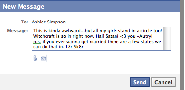 I just sent Ashlee Simpson a message on fb…