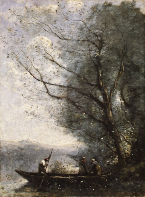 artpedia:  Jean Baptiste Camille Corot - The Ferryman, 1865. Oil on canvas