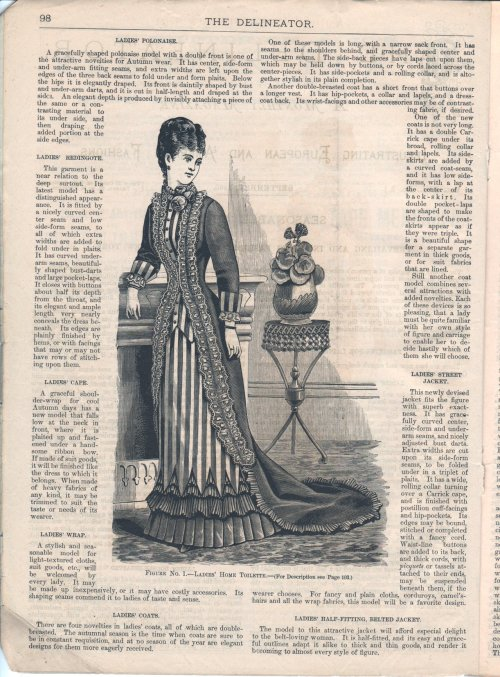 Home toilette, Sep 1880 US, The Delineator  The engraving illustrates a toilette made of cashmere and striped satin and trimmed with the same and Languedoc lace.  It is arranged to present the effect of an over-garment with a long train worn over a short costume, and the result is very charming.  The front, at its closing edges, extends only a short distance below the waist.  It is cut back to the first dart, and then rounds downward and backward in a regular court-train outline, to meet the back-skirt, which extends in an oval train.  Besides the two bust darts at each side, there is also another dart under the arm, the three shaping the front snugly to the figure.  The back is adjusted by side-backs and central-portions, the seam of the latter terminating quite low down in the skirt in an under box-plait.  The cutaway portions of the front expose a front-gore and two side-gores, overlaid for two-thirds of their depth with striped satin.  The bottom of the latter is cut in deep points, which are lined and fall over a pretty decoration composed of a kilt-flounce, one wide and two narrow knife-plaitings, all of cashmere.  From the top of this decoration the edges of the front are decorated with a double frill or scanty ruching of lace, which is also carried about the neck below a ruching of lisse.  A narrow plaiting of the cashmere commences at the lower terminations of the lace and then extends about the train, forming its own decoration.  The sleeve is in coat shape, and is finished at the wrist with a cuff of the striped goods and a frill of lace.