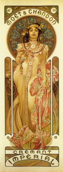 deegee1024:  Alphonse Mucha (1850-1939) is known as one of the most prominent artists of art nouveau and for revolutionalizing posters and commercial art.  Born in Czechoslovakia, Mucha was active in the arts from a young age.  His first job in the artist was as a theater's set designer in the Vienna, but when their theater burned down he traveled as far as he could to Moravia, where he paid his way by drawing street portraits.  It was there he was discovered by his first patron Count Khuen Belasi.  He painted murals for the count and his brother who sponsored Mucha to study at the Academy of Art in Munich and then to study in Paris.  After a few years the Count had to withdraw his support of Mucha who then began to work as a magazine illustrator.  In 1894, while working for a printer he was commissioned a poster for the famous Parisian actress Sarah Bernhardt for he new production of Gismonda.  The poster was different than all the others on the streets of Paris.  It was a long vertical almost life size format with soft pastel colors and the signature Mucha 'halo'.  With the admiration of Bernhardt on his side, this style became the most popular in ushering the art nouveau era.  Bernhardt offered him a contract the continue producing posters for her as well as costume and set designs.  In 1902 he published a book detailing his art nouveau  style called Documents Decoratifs.  Mucha also taught at the Academie Colossi and later the Academie Carmen before he was commissioned to paint a mural inside the Bosnia-Herzegovina Pavilion by the Austrian Government.  While researching for the project he came up with idea for his Slav Epic, a tribute to the trials and tribulations of the Slav people.  To realize this dream Mucha went to America to raise money, but initially hit hard times.  In 1906, he married Marie Chitylova and in 1909, American millionaire Charles Crane agreed to fund Mucha's Slav Epic.  He returned for the study in the Balkans in 1910 and complete his canvases from 1912-1926.  From then on it was a struggle to find a suitable space in which to display the paintings, and when Mucha died in 1939 from pneumonia, they were still in storage, having never found a suitable venue.