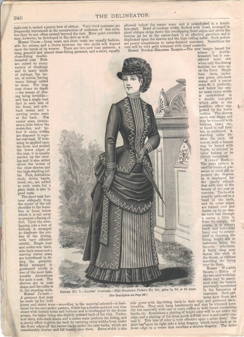 Ladies' costume with zig-zagged ribbon trim, Oct 1885 US, The Delineator