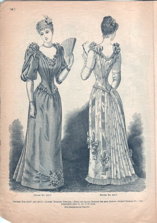oldrags:  Evening dresses, May 1891 Canada, The Delineator (Canadian version)