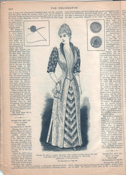 Basque and walking skirt, May 1891 Canada, The Delineator (Canadian version)