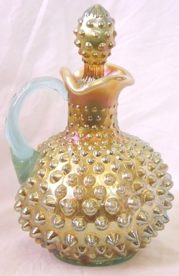 berengia:  Fenton Aqua Opalescent Hobnail Cruet made by Fenton for Levay - 1980