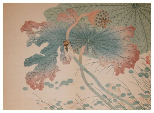 yama-bato:  Shunkei Evening Cicada and Wasp on Lotus Woodblock Printc.1880