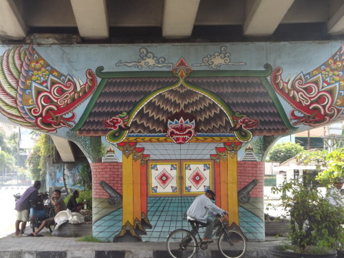 indodenmark:  One part of a mural series under a bridge in Jogja.