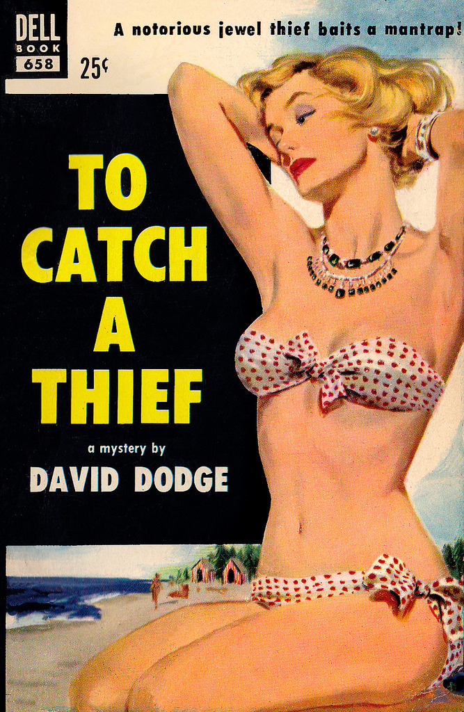 theniftyfifties:  'To Catch a Thief' - book cover art by Mike Ludlow, 1953.