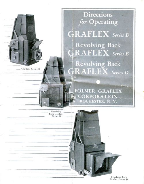 GRAFLEX D SERIES Cover instruction manual 1930'S Revolving back Found: Flickr stream: Vintage America, accessed July 1, 2012