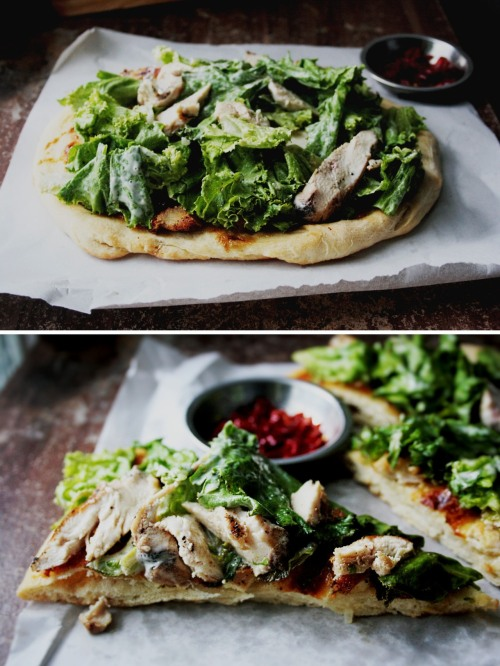 Grilled Chicken Caesar Salad Pizza