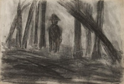 Bob Thompson, Untitled (Man in Forest), ca. 1958, charcoal on paper, 12 x 18 inches. Courtesy of Steven Harvey Fine Art Projects
