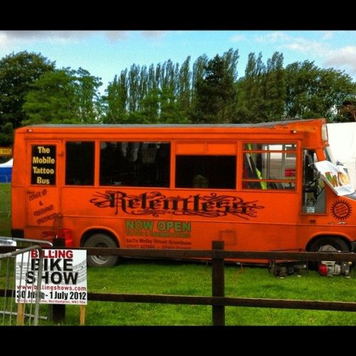 "This Relentless sponsored ""Tattoo Bus"" is one more nail in the coffin. Apparently we are to ask about their tattoo parties! #tattoo #deathofthecraft #wtf #igiveup (Taken with Instagram)"
