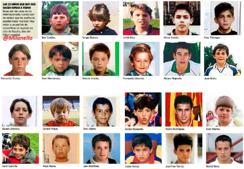 Photos of the 23 Spanish players when they were kids. Click on the source for the bigger resolution. :)