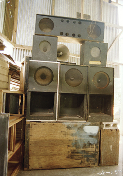 Old Hits Reggae Club, Port Antonio, Jamaica. This was where I experienced Sonic Surfing for the first time, and my first trip to Jamaica. Sound can truly take you to new dimensions. I remember stepping into the dancefloor, literally, the door threshold was about 1 foot high, and it was like my feet never touched the ground again that night. I was floating in music, mostly carried by the drum and bass. Besides music and the worlds fastest runners, I would add Authentic sound engineers to     Jamaica's list of natural trades. ©JAMIL GS 1993