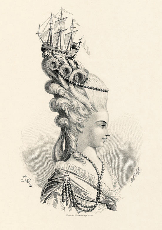 theoddmentemporium:  There is no hair more iconic, perhaps, than Marie Antoinette's elaborately curled and beribboned wigs. Her daringly avant-garde style and her love of fashion took Versailles by storm, and the ladies of court were constantly trying to emulate the Queen's frequently changing coiffure. As young aristocrats in the 18th Century, women (although in a position of social power) were obviously not in a position to express themselves freely or assertively. Perhaps the young Queen of France used her love of fashion as a way of expressing herself when in all other areas (marriage, politics) she was rather a lost soul. One of the most well known trends of this period was for miniature models of war ships to be placed upon rolling waves of curls, in celebration of French Navy victories against the British.