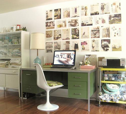 I've featured Tif Fussell of Dottie Angel's workspace before. This is another iteration of her thrift store chic aesthetic. (via Apartment Therapy) Original Article