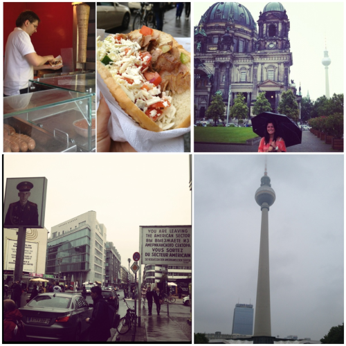 Day 16 - Berlin continued  Clockwise from top left: -Doener Kebab (my favorite food in Berlin- Thanks Natalie for the suggestions!) This is actually a Turkish dish and it's similar to a gyro, but 10x better. You find a Doener Kebab stand on every corner. -Berliner Dom (Cathedral), and you can see the tv tower in the background -Fernsehturm (tv tower in Alexanderplatz) -Checkpoint Charlie (one of the 3 checkpoints JFK had ordered to be built along the Berlin wall)