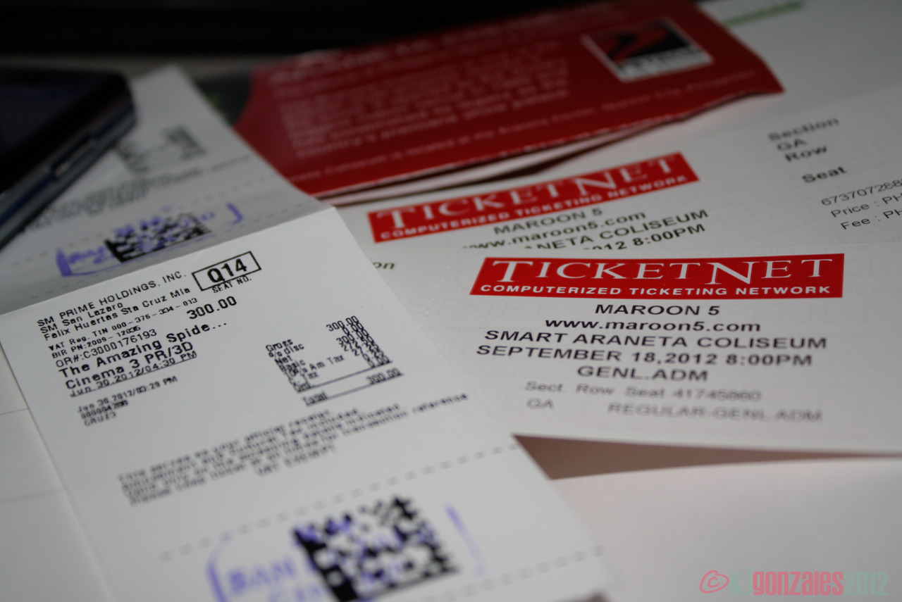 Yesterday in bullets: Topak mode Maroon 5 Concert Tickets (kahit gen ad lang!) Takoyaki, milk tea at Karate Kid The Amazing Spider Man in 3D Everything with (and because of) smile
