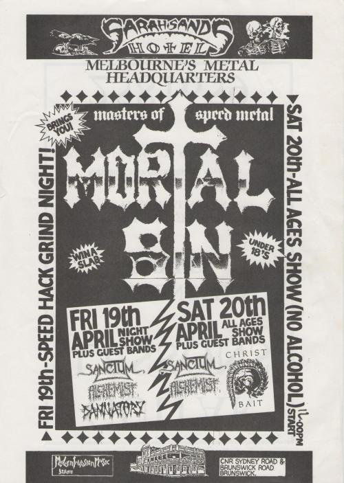 Mortal Sin 1991 - another ancient flyer from my stash. Damn I wish I went to both of these shows just to see Damnatory and Christbait when they were in their death metal phase.