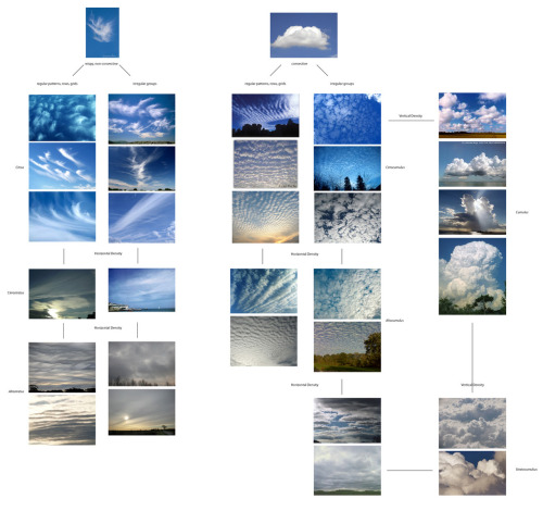 An aesthetic, non-scientific classification of cloud formations. Preparation work for a generative approach to cloud drawings.