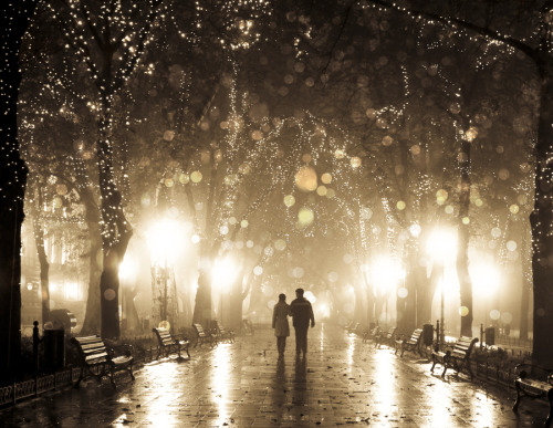 aspirethesenses:  Couple walking at alley in night lights (by: Vladimir Nikulin)