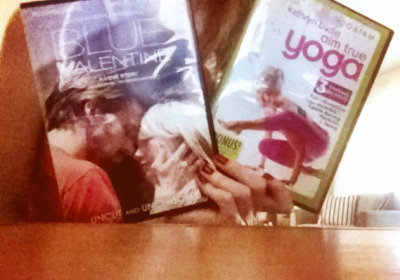 just got 2 new dvds! :) blue valentine aka the only movie that rips my heart in millions of little pieces yet, i still find beautiful and to be an amazing film. and! a kathryn budig dvd. so excited to try that one out in a little!