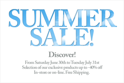 The Etiket Summer Sale has begun in-store and online! Offer available through 11:59pm EST, Tuesday July 31st, 2012 on specific products only. In-store or on-line. Free Shipping.  Shipping is always complimentary at Etiket.ca!