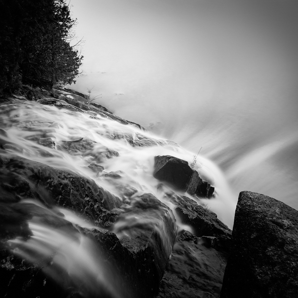 black-and-white:  Man 'o War Brook Falls_ (by Nate Parker Photography)
