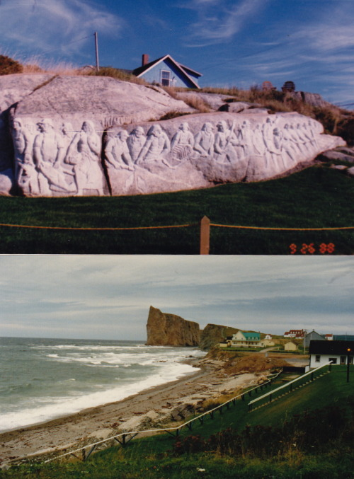 To celebrate Canada Day, I've scanned two photos I took during Canadian road trips some years ago. The top one is from Peggy's Cove, Nova Scotia, from 1988, and the other is of Roche Percé, the amazing pierced rock, from a visit to Quebec's Gaspé Peninsula earlier in the '80s. Happy Birthday to all my Canadian friends! Also posted at The Great Gray Bridge website.