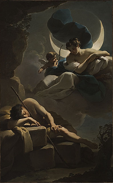 a-l-ancien-regime:  Ubaldo Gandolfi (1728 - 1781)  Selene and Endymion, circa 1770 Painting, Oil on canvas