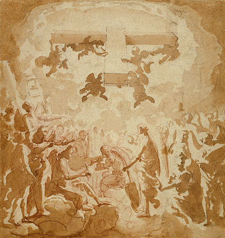 Eugenio Cajés Triumph of the Cross (c. 1613-34)  The steep perspective of the cross and the suggestion of heaven's spatial infinity indicate that Eugenio Cajés probably made this square drawing as a preparatory study for a ceiling painting, probably in a chapel dedicated to the cross. In his late work, Cajés characteristically employed these graceful figures, these rhythmically flowing forms, and this chiaroscuro effect in brush and wash. His convincing illusionism in rendering the cross required extensive knowledge of perspective, which he may have gained from his study of Italian architecture.  [via The J. Paul Getty Museum]