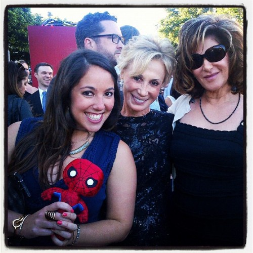 #igersitalia_swspidermantour #amazingspiderman Spiderino with Amy Pascal and Avi Arad's daughter and wife! (via Photo by screenweek_pic • Instagram)