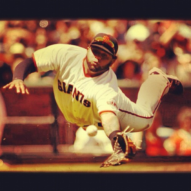 Diving for the #catch #sf #sanfrancisco #sfgiants #baseball (Taken with Instagram)
