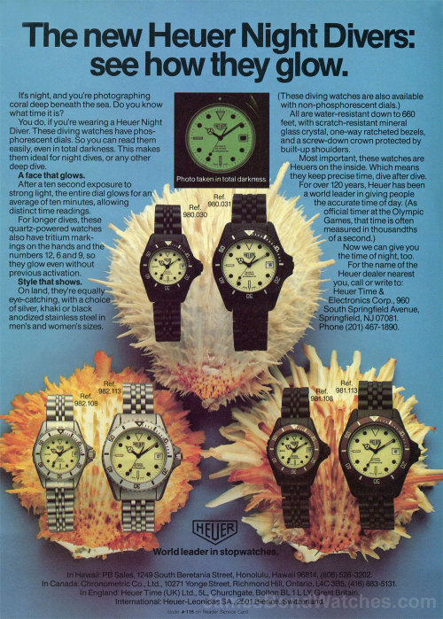 Classic #Heuer #Advertisement Showcasing Their Phosphorescent Dials For Night Divers - #Dive