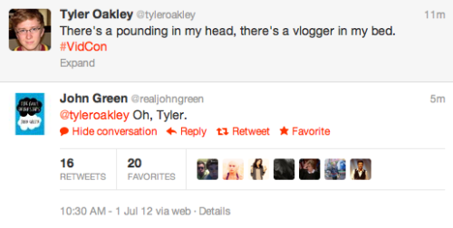 tyleroakley:  fishingboatproceeds:  tyleroakley:  Oh, John.  Oh, Tyler.  Oh, fanfic writers.  *waits patiently for fanfic*