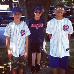 Matt off to his 1st @Cubs game. Big bros will show him the way. (Taken with Instagram)