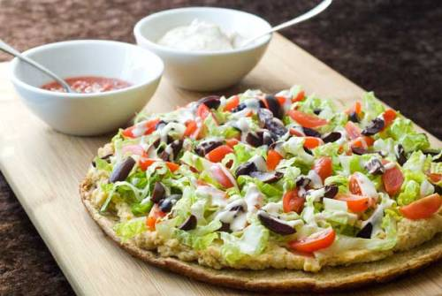 health-conscious:  Falafel pizza with hummus and creamy tahini sauce  Yes.