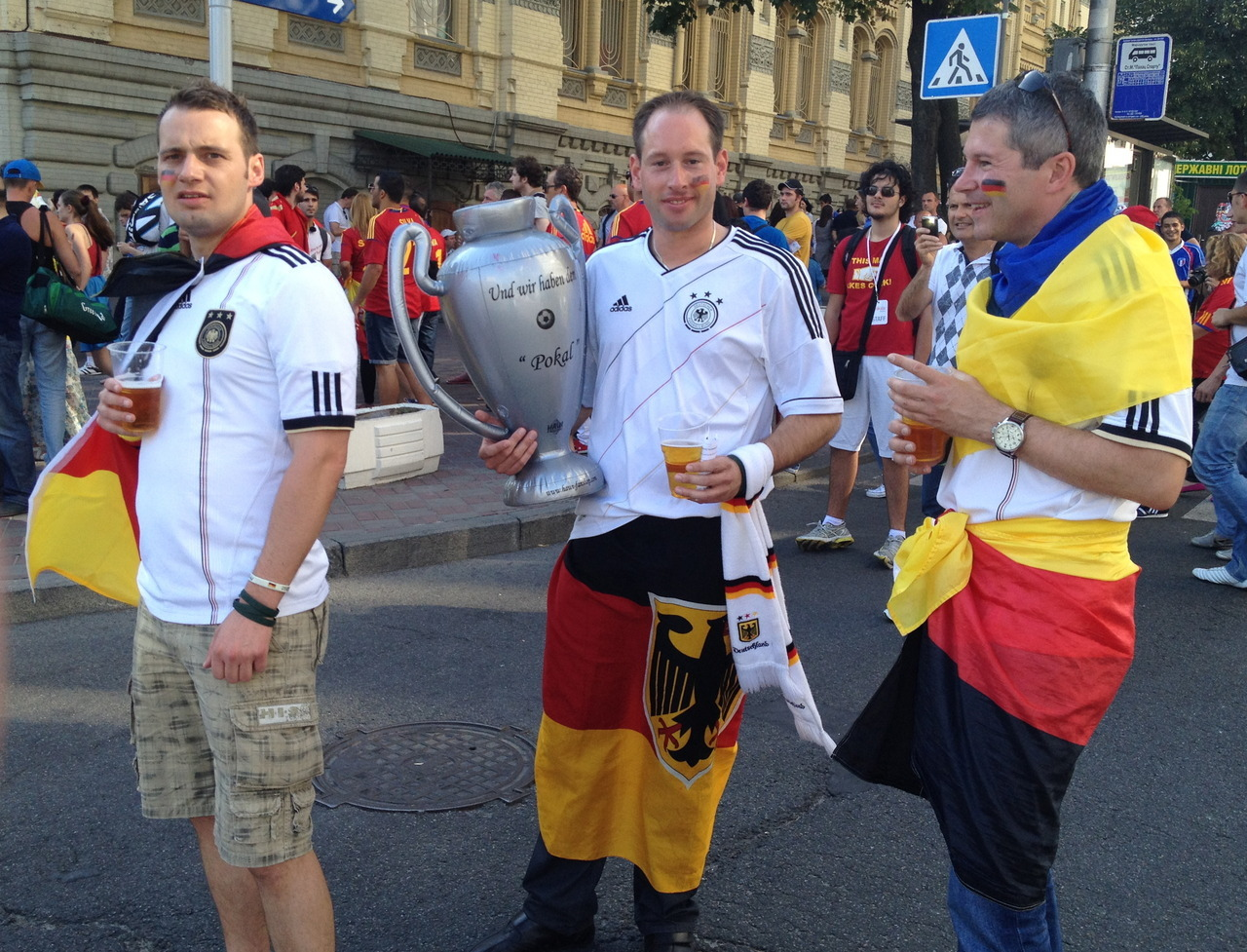 Huge number of Germans turning up for the Euro final… how do you say overconfidence in German?