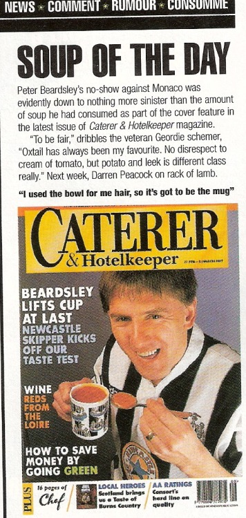 Peter Beardsley becomes a cover boy for Caterer & Hotelkeeper magazine. This photo was scanned from Issue 350, 15 March 1997.