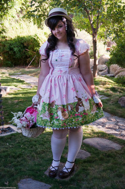 oh wow, tiff would love this dress!   aliceartemisia:  Bunny Garden OP by The Poison Sugar so cute!