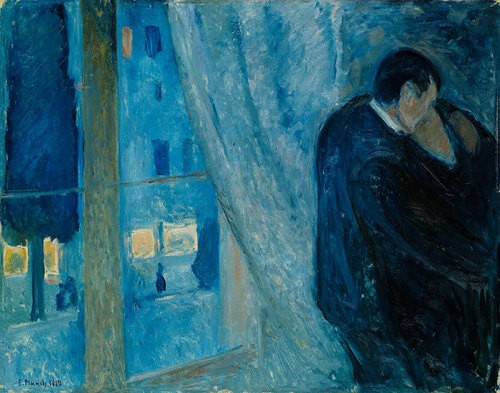 theories-of:  Edvard Munch, Kiss by the Window, 1892, Oil on canvas, 73 x 92 cm