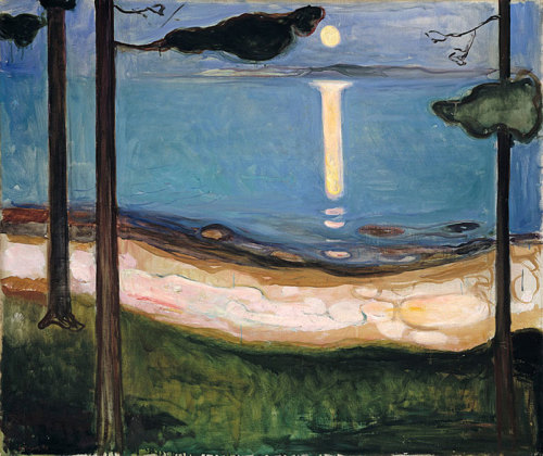 theories-of:  Edvard Munch, Moonlight, 1895, Oil on canvas, 93 x 110 cm