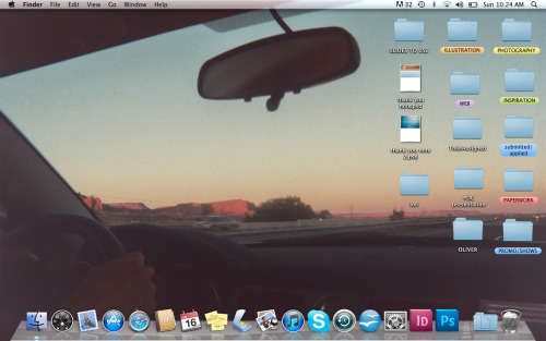 """I try to keep my desktop clean. Emphasis on clean. I'm pretty organized but sometimes a peek into the labeled folders can be a bit overwhelming. The current image was from a disposable camera used on a trip through the Southwest. I have travel on my mind."" Magali Duzant, 25, Photographer & Illustrator, New York, NYhttp://www.magaliduzant.com"