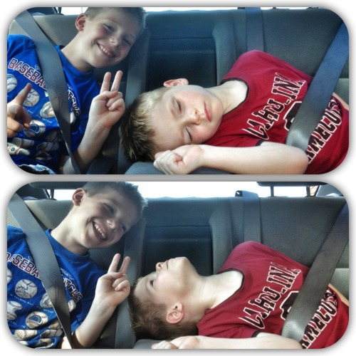The road trip won this round and Caleb was caught sleeping away.  Of course Nathaniel couldn't let this opportunity pass without throwing a set of bunny ears on Caleb's head.  It was really funny because right after the first photo was snapped of Nathaniel enjoying a moment, Caleb woke up and caught Nathaniel doing it.  Haha.  Love it!  Nothing like throwing a set of bunny ears on someone when they don't know it.  Especially if they're sleeping.