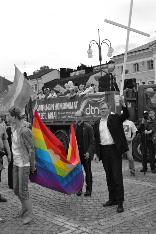 onlyfluffydreams:  Church members supporting gay rights @ Helsinki pride  And this is why the Lutheran church is awesome and has my respect where others don't have. ;u; <3 I'm not a religious person in any way, unless you count praying to my watercolour palette that I don't screw up while painting, but if church supports me, I support church. Love and let love.