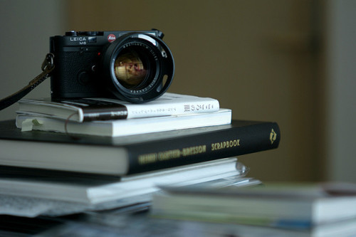 1iberated:  my M6, Noctilux, and favorite Cartier-Bresson's books by doo3 on Flickr.