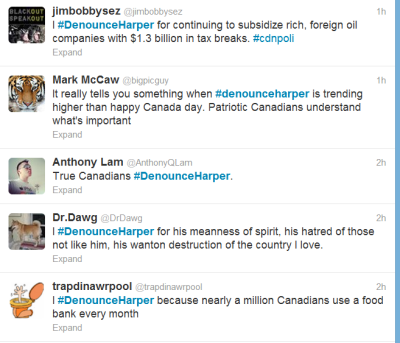 "filzahforpm:  ""It really tells you something when #denounceharper is trending higher than happy canada day. Patriotic Canadians understand what's important."" True patriotism today means defending Canada from the Tories.  See more: http://twitter.com/#!/search/denounceharper IF YOU ARE ON TWITTER PLEASE GO TWEET #denounceharper."
