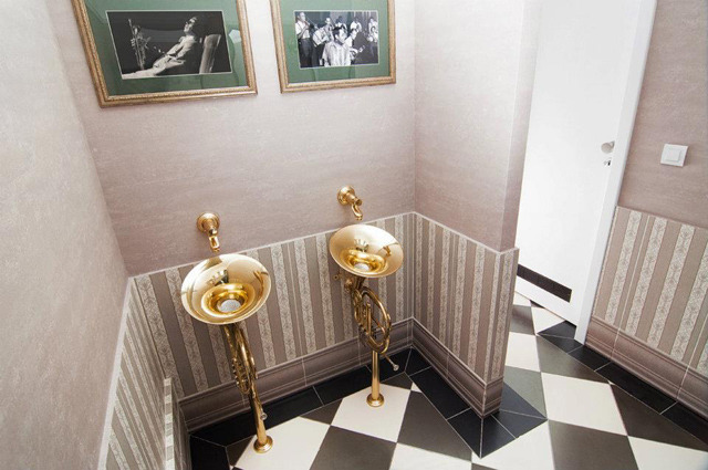French Horn Urinals in the Men's Room at Romania's Jazzissimo Lounge